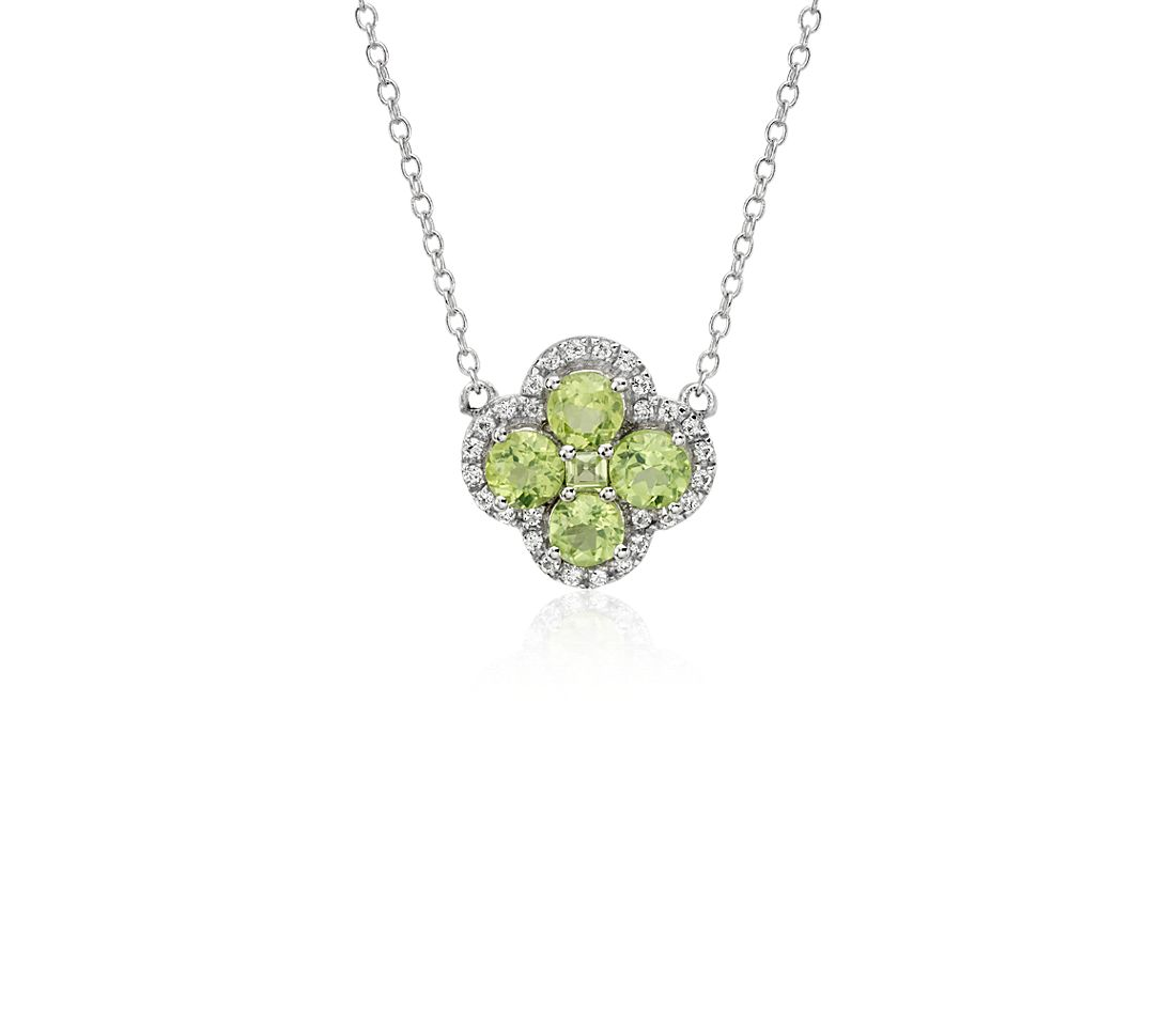 Peridot Halo Clover Necklace in Sterling Silver (4mm)