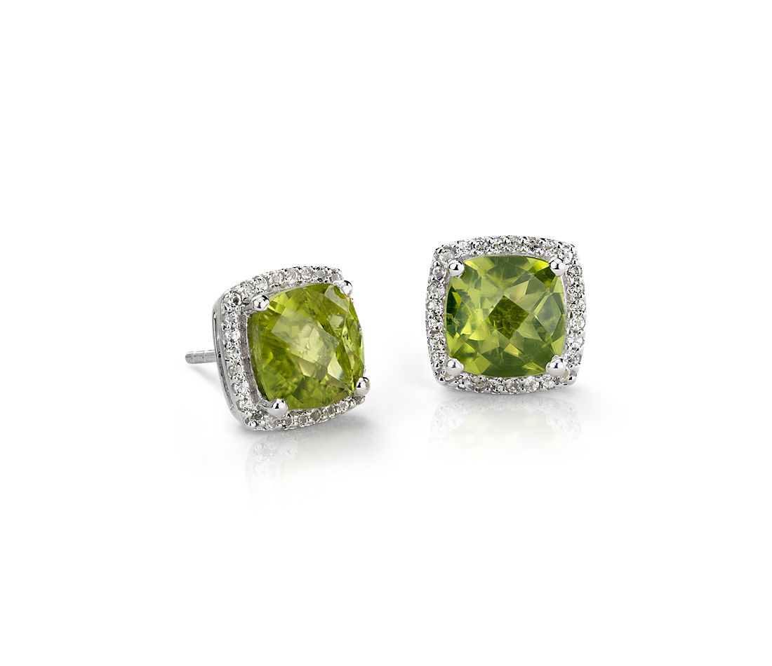 Peridot Halo Stud Earrings In Sterling Silver 8x8mm