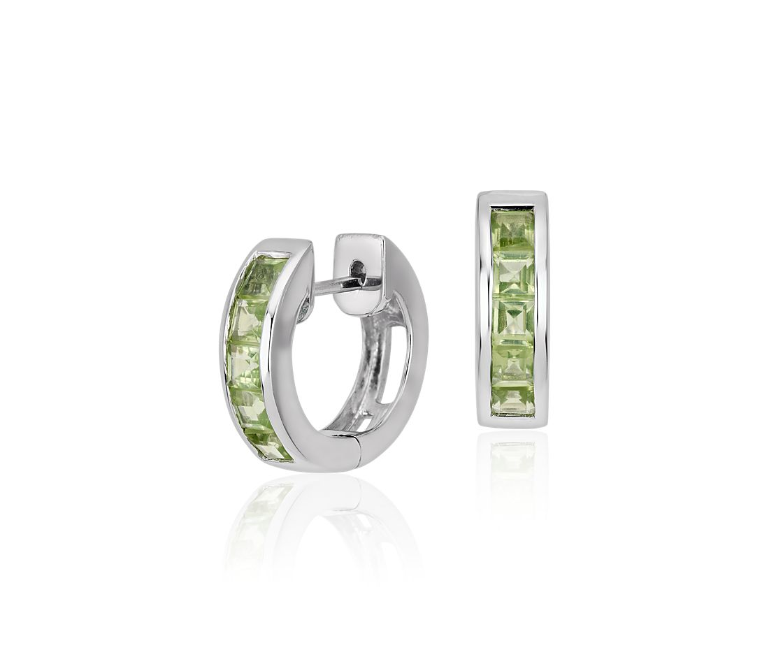 Peridot Hinged Hoop Earrings In Sterling Silver 3mm