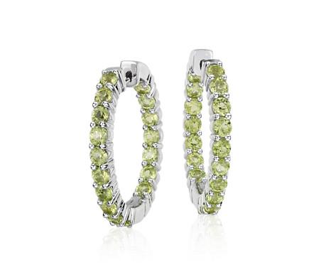 Peridot Hoop Earrings In Sterling Silver 3mm