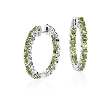 925 纯银橄榄石圈环形耳环<br>(2.5毫米)