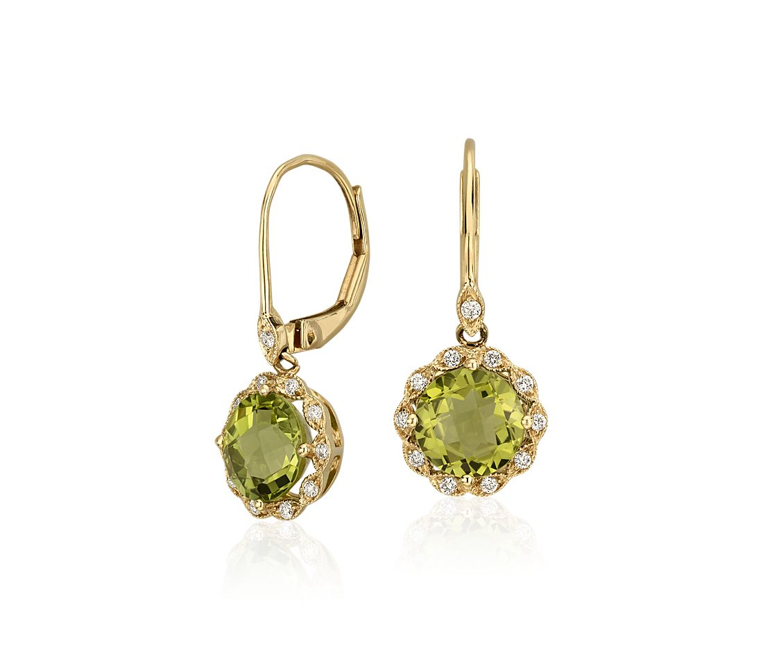 Peridot And Diamond Milgrain Halo Leverback Earrings In 14k Yellow Gold 7mm