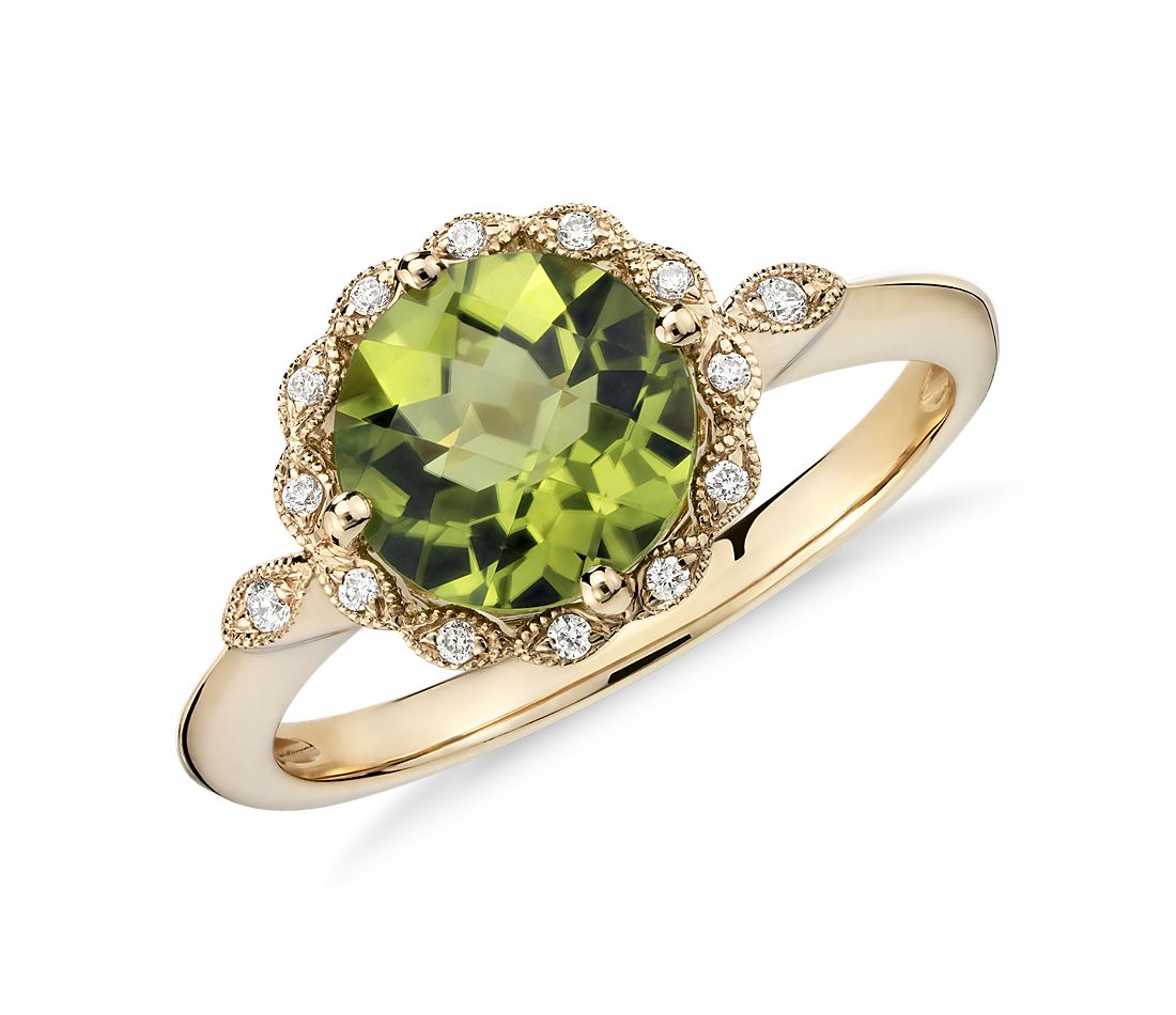 peridot and diamond milgrain halo ring in 14k yellow gold