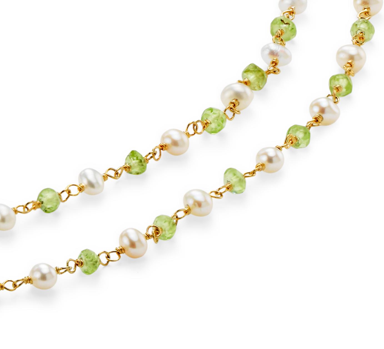 Collar de peridoto y perlas cultivadas de agua dulce talla Briolette en plata bañada en oro (3mm)
