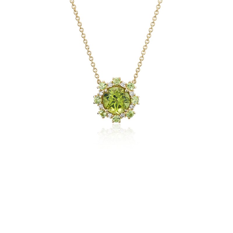 Peridot Pendant with Peridot and Diamond Halo in 14k Yellow Gold