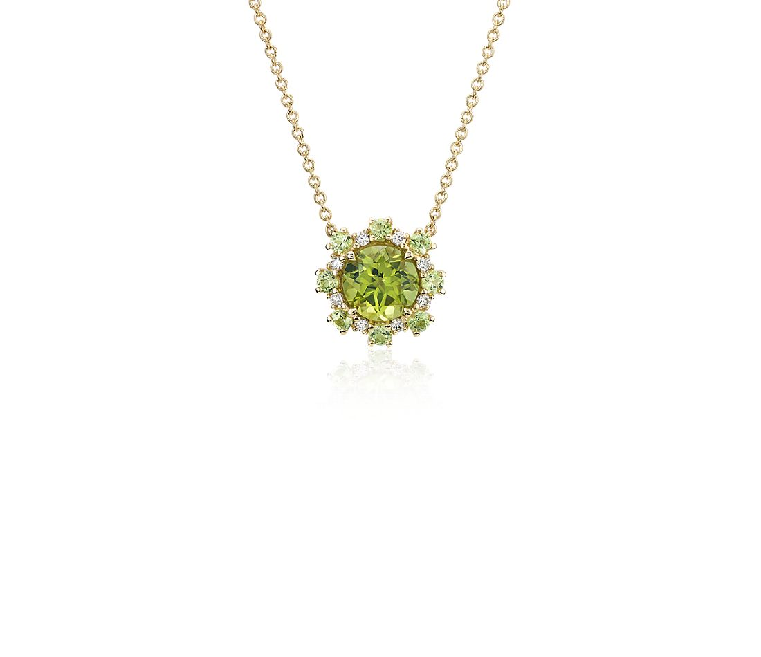 Peridot Pendant with Peridot and Diamond Halo in 14k Yellow Gold (6mm)