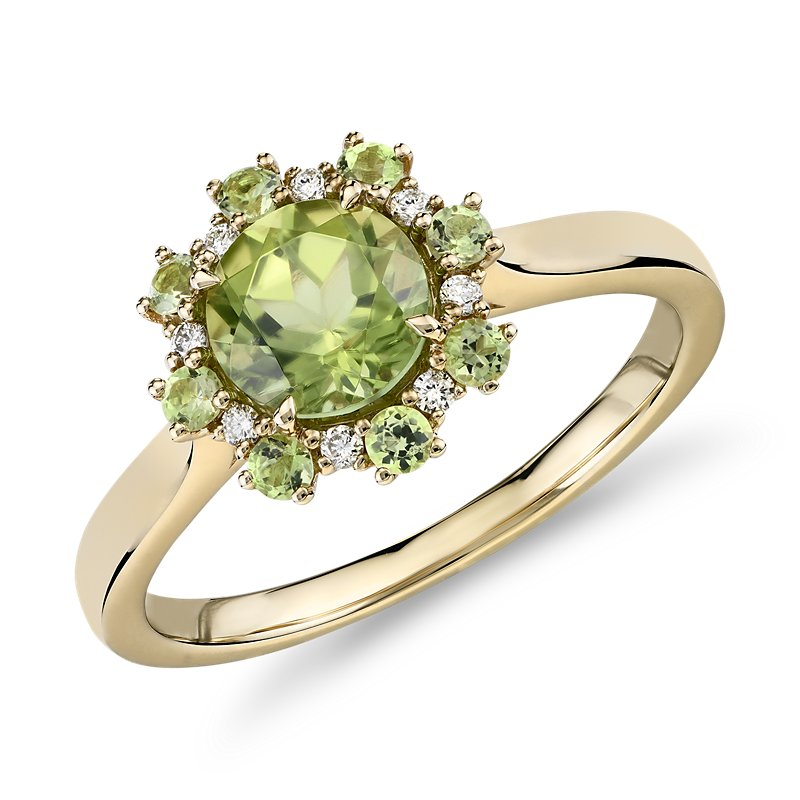 Peridot Ring with Peridot and Diamond Halo in 14k Yellow Gold (6m