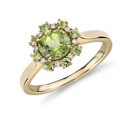 14k 金橄榄石和钻石光环橄榄石单石戒指<br>(6毫米)