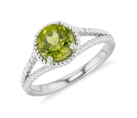 925 纯银橄榄石绳状戒指<br>(7毫米)
