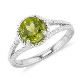 NEW Peridot Rope Ring in Sterling Silver (7mm)