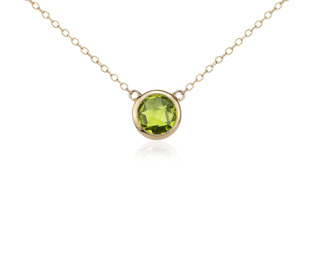 Collier solitaire péridot en or jaune 14 carats (8 mm)