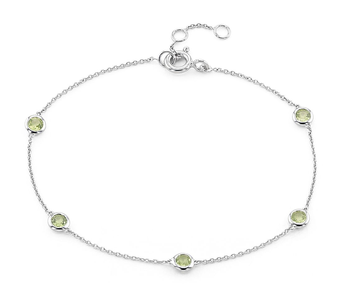 Peridot Stationed Bezel Set Bracelet In 14k White Gold 3mm
