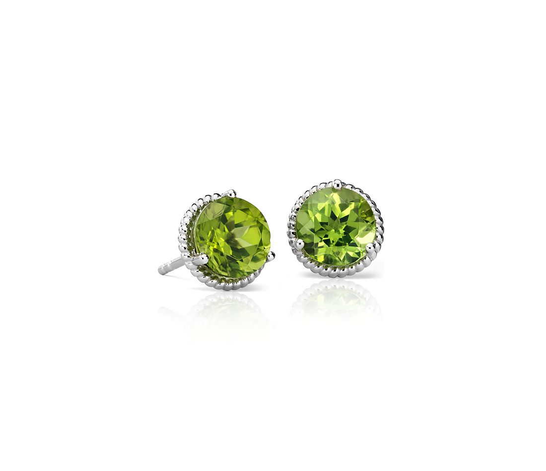 Peridot Rope Stud Earrings In Sterling Silver 7mm