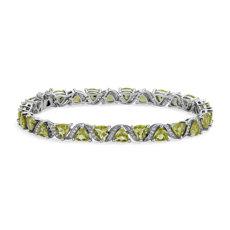 新款 925 純銀Peridot Trillion Criss-Cross Bracelet