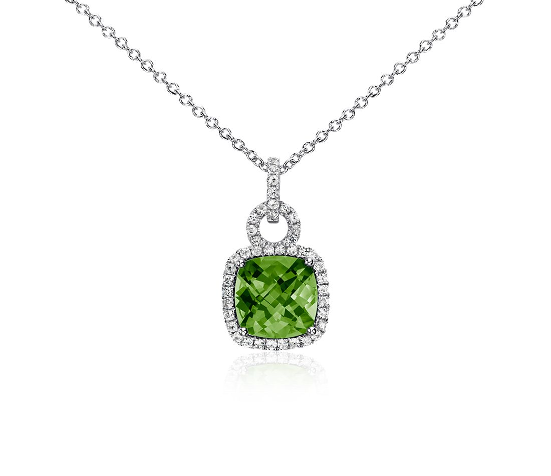Peridot and White Sapphire Cushion-Cut Pendant in Sterling Silver