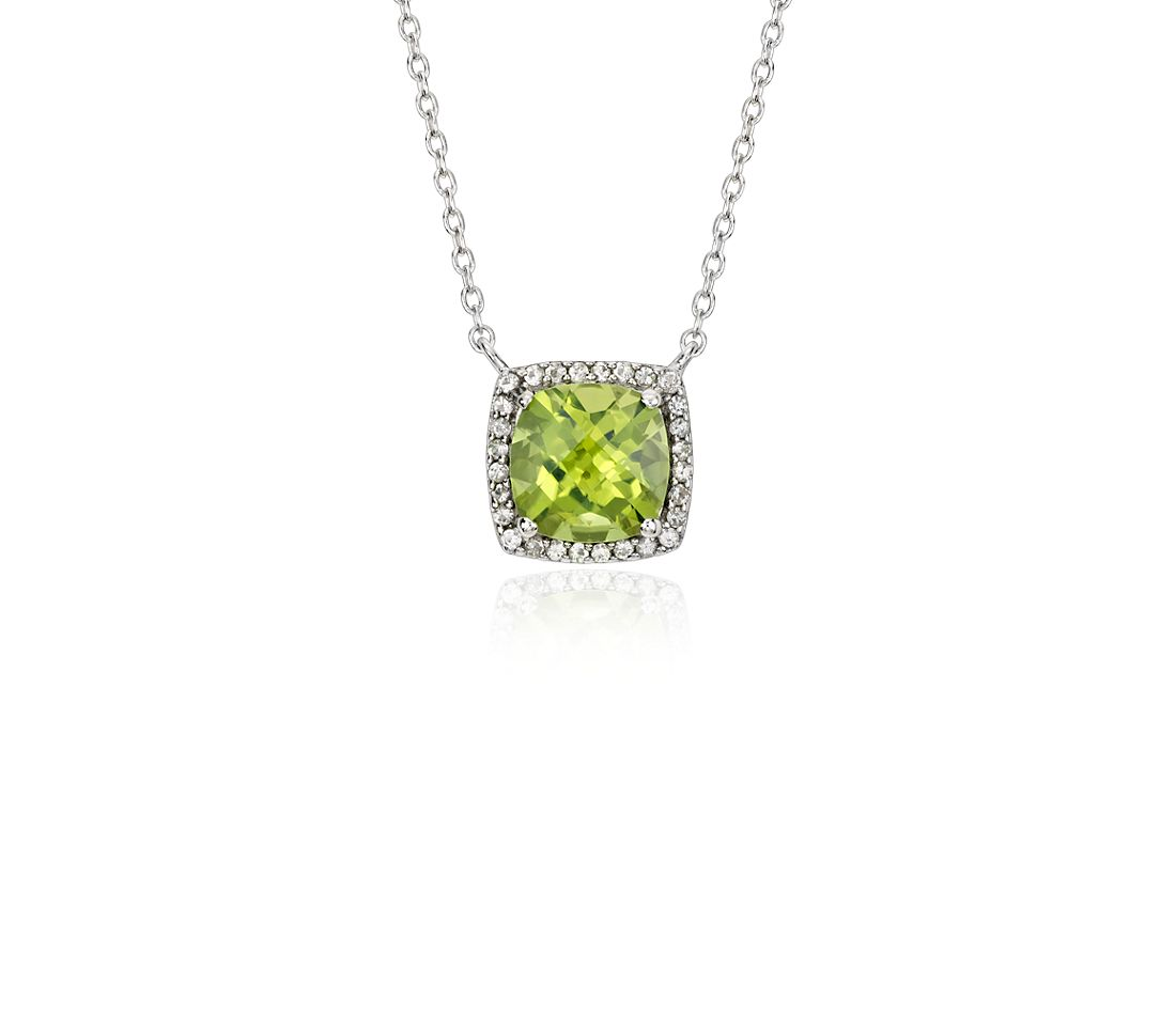 Peridot and White Topaz Halo Necklace in Sterling Silver (8x8mm)