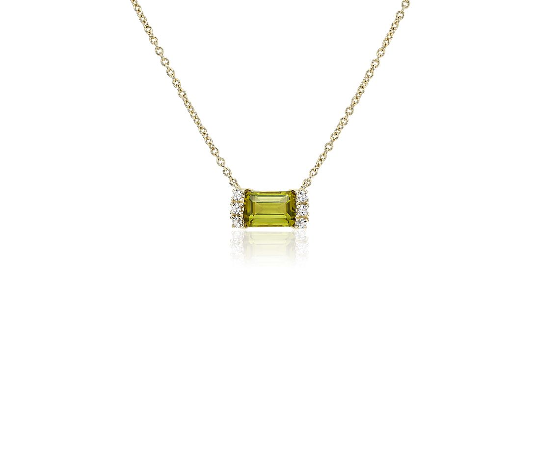 Peridot and White Topaz Neon-Pop Necklace in 18k Yellow Gold