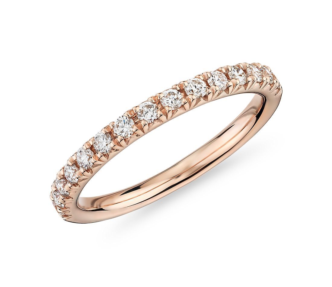 French Pavé Diamond Ring in 18k Rose Gold (1/3 ct. tw.)