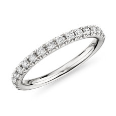French Petite Pavé Diamond Ring in 18k White Gold (0.30 ct. tw.)