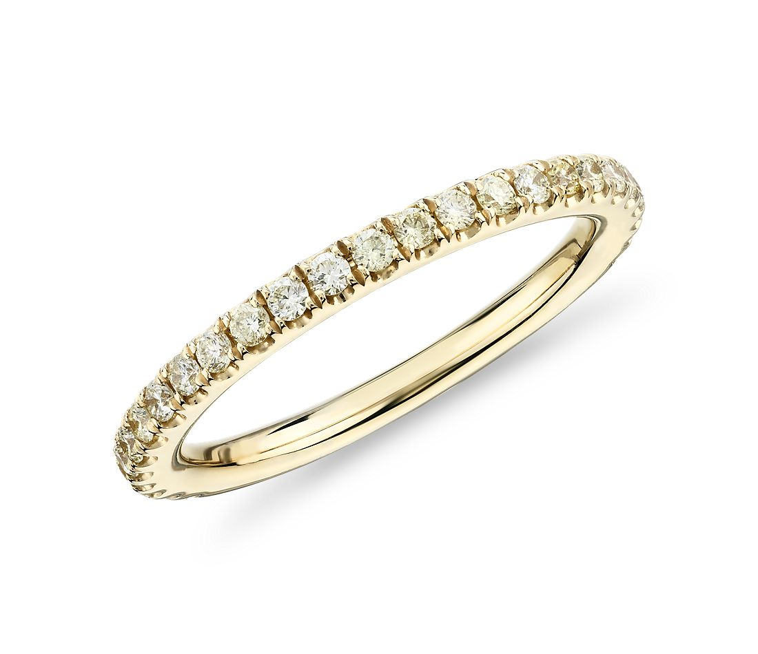 French Pavé Yellow Diamond Ring in 14k Yellow Gold