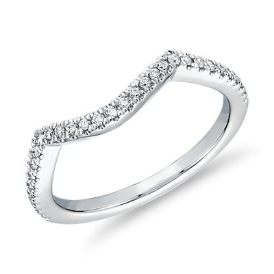 Petite Twist Curved Diamond Wedding Ring in 14k White Gold (1/6 ct. tw.)