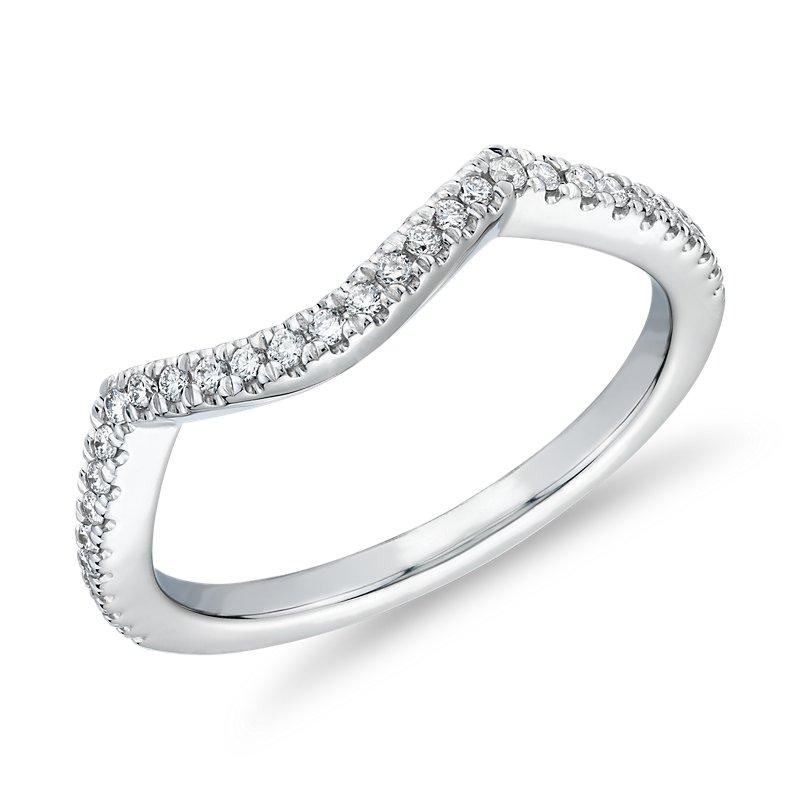 Petite Twist Curved Diamond Wedding Ring in 14k White Gold (1/6 c
