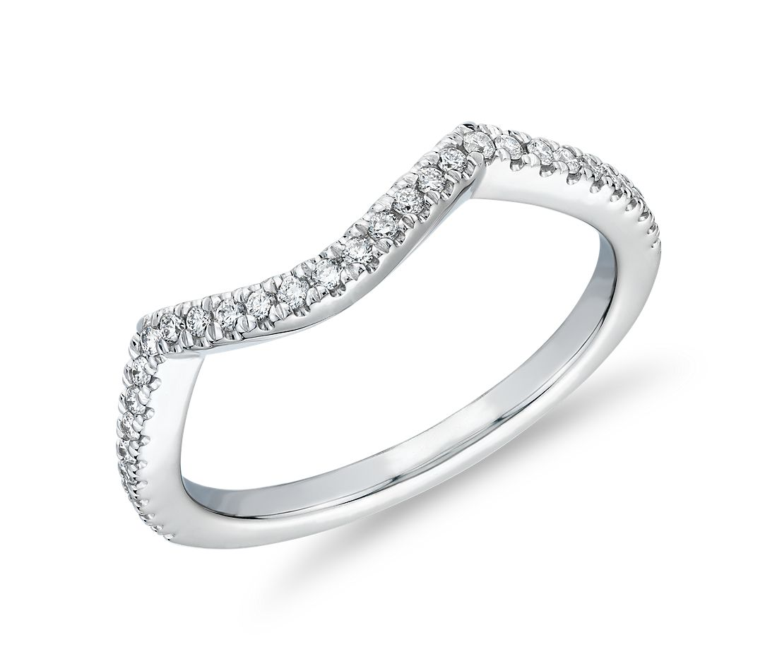 Petite Twist Curved Diamond Wedding Ring in 14k White Gold (1/8 ct. tw.)