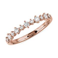 新款 14k 玫瑰金小巧鑽石相間排列結婚戒指 (1/4 克拉總重量)