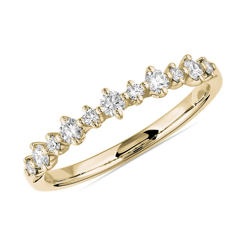 Petite Alternating Diamond Wedding Band in 14k Yellow Gold (1/4 c