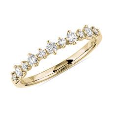 新款 14k 黃金小巧鑽石相間排列結婚戒指 (1/4 克拉總重量)