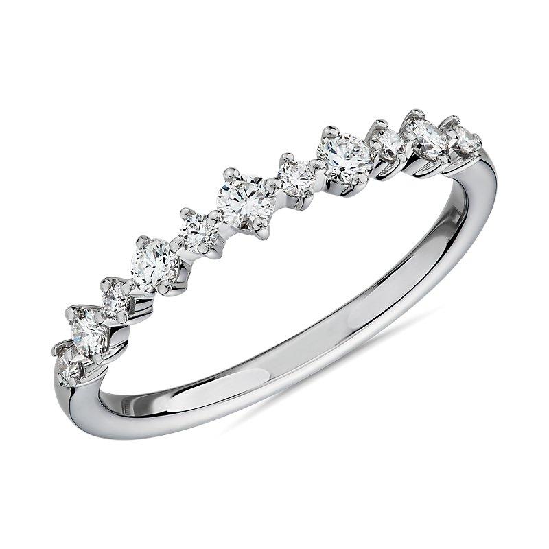 Petite Alternating Diamond Wedding Band in 14k White Gold (1/4 ct