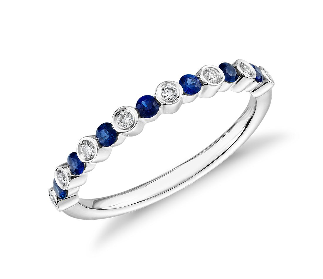 Petite Alternating Sapphire and Diamond Stacking Ring in 14k White Gold (1.8mm)