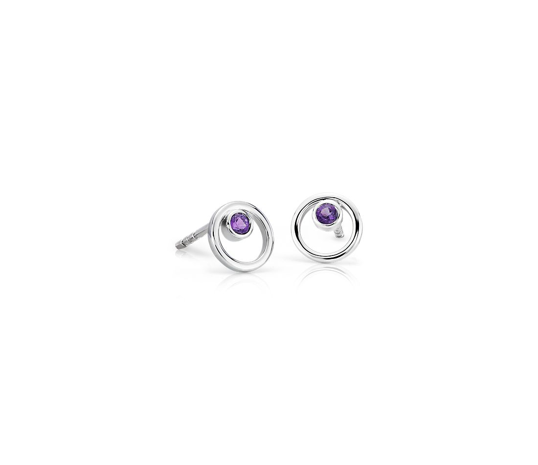 Pee Open Circle Amethyst Birthstone Earrings In 14k White Gold 2mm