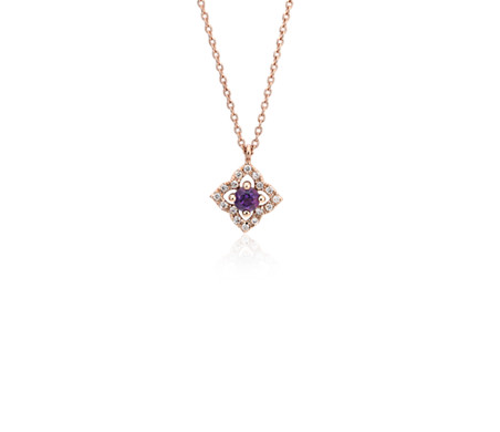 Petite Amethyst and Diamond Floral Pendant in 14k Rose Gold (2.8mm)