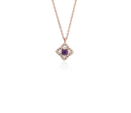 14k 玫瑰金 小巧紫水晶與鑽石花卉吊墜<br>( 2.8毫米)