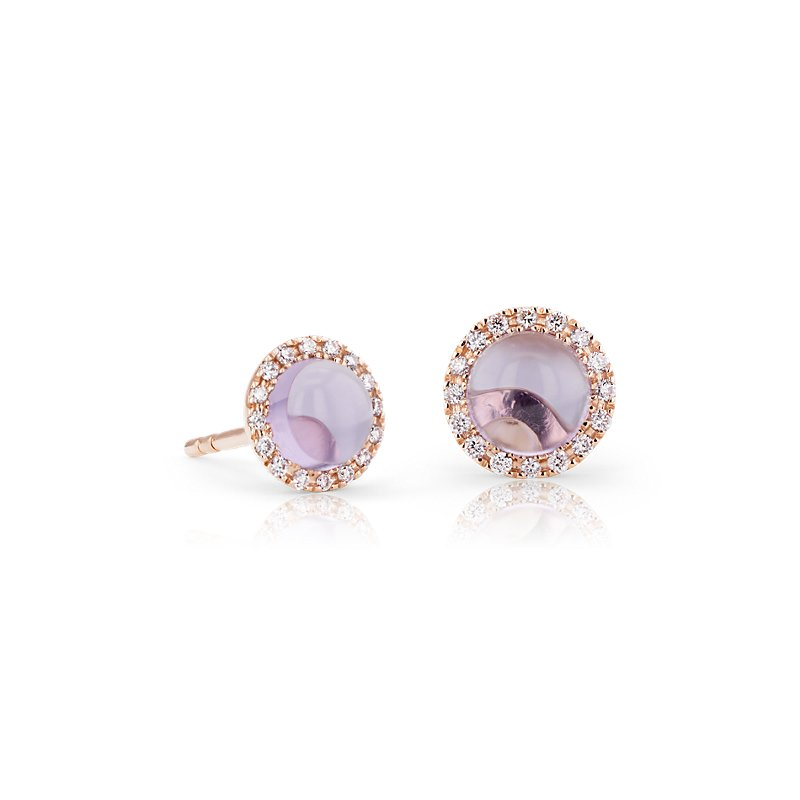 Petite Amethyst Cabochon Earrings with Diamond Halo in 14k Rose G