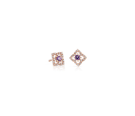 Petite Amethyst Floral Stud Earrings in 14k Rose Gold (2.4mm)