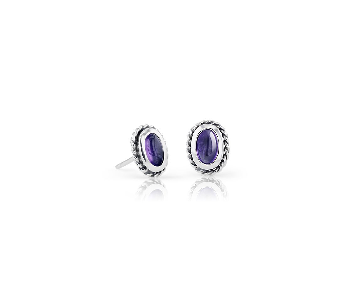 Petite Amethyst Studs with Rope Halo in Sterling Silver (5x3mm)