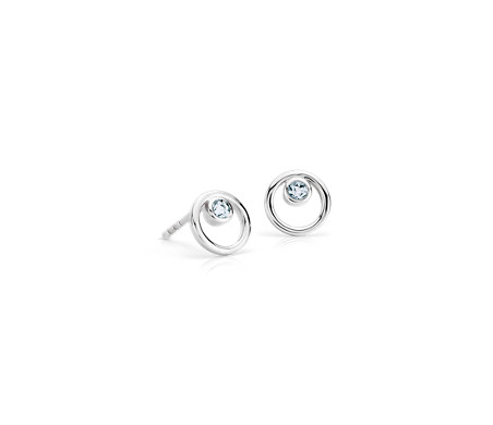 Petite Open Circle Aquamarine Birthstone Earrings in 14k White Gold (2mm)