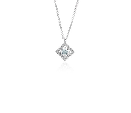 Blue Nile Petite Aquamarine and Diamond Floral Pendant in 14k White Gold (2.8mm) s6Wu0aa