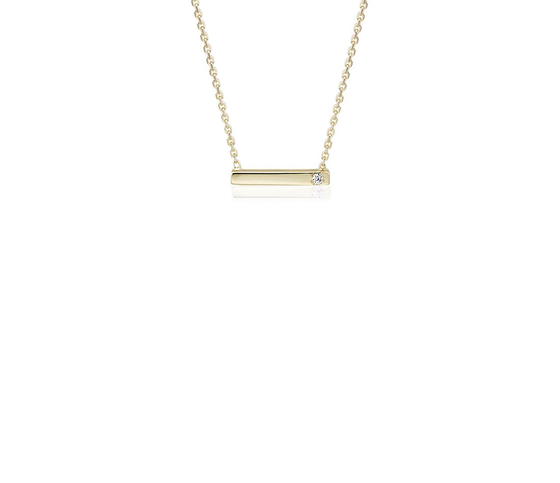 Petite Bar Necklace with Diamond Detail in 14k Yellow Gold