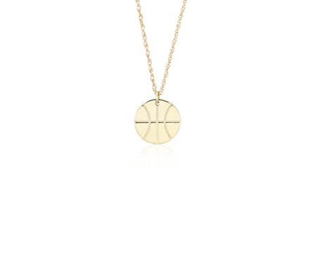 Petite basketball charm necklace in 14k yellow gold blue nile petite basketball charm necklace in 14k yellow gold mozeypictures Images