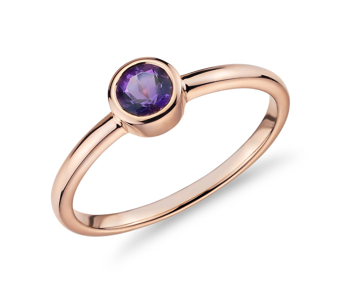 Petite Bezel-Set Amethyst Fashion Ring in 14k Rose Gold (4mm)