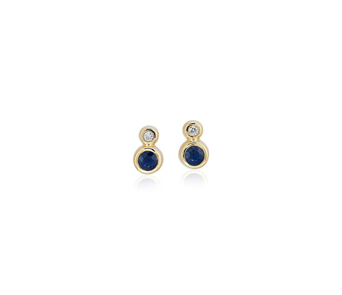 Petite Bezel-Set Sapphire and Diamond Earrings in 14k Yellow Gold (3mm)