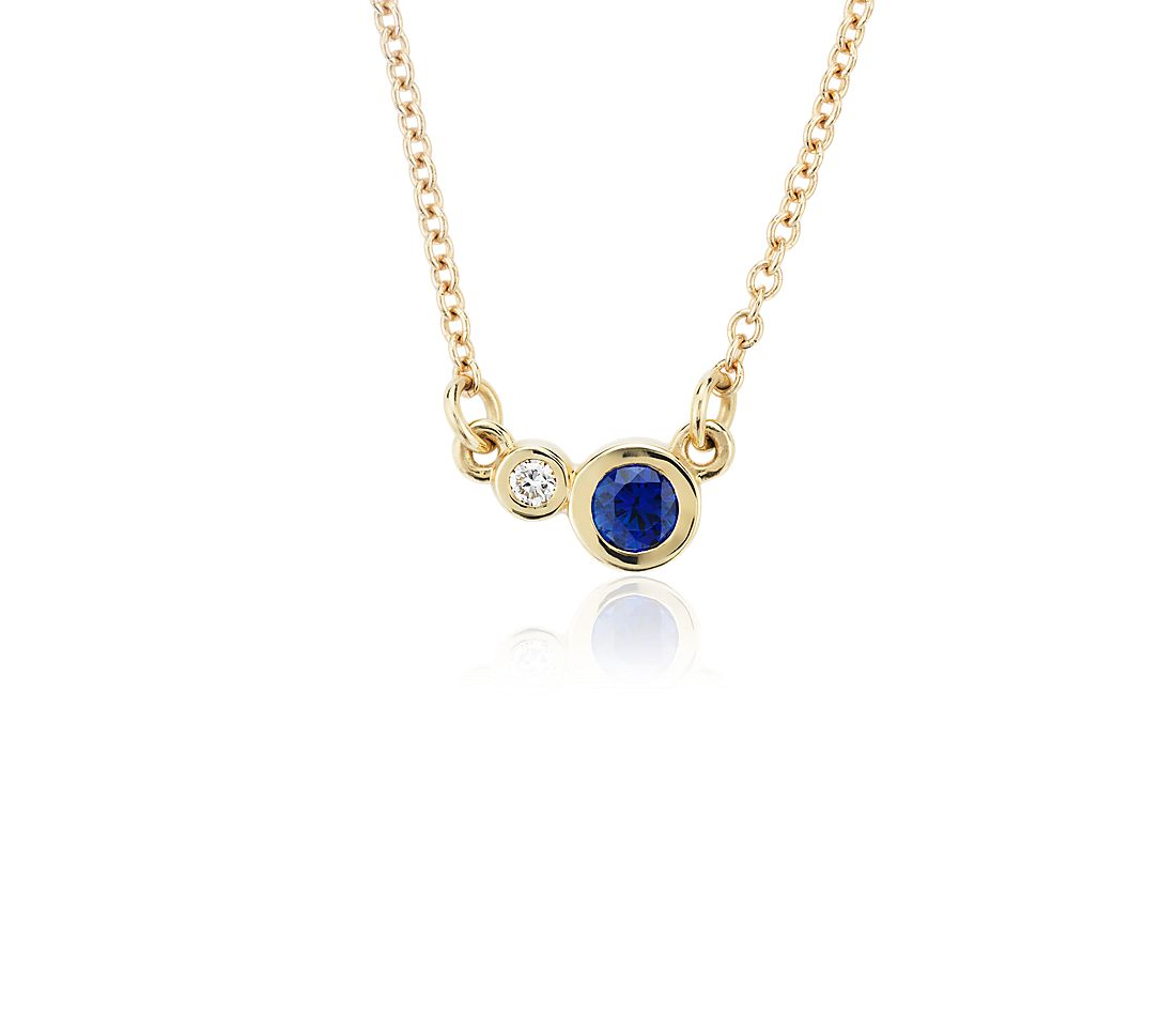 Petite Bezel-Set Sapphire and Diamond Necklace in 14k Yellow Gold (3mm)