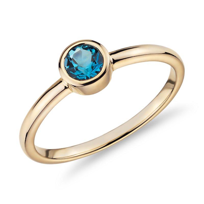 Petite Bezel-Set Swiss Blue Topaz Fashion Ring in 14k Yellow Gold