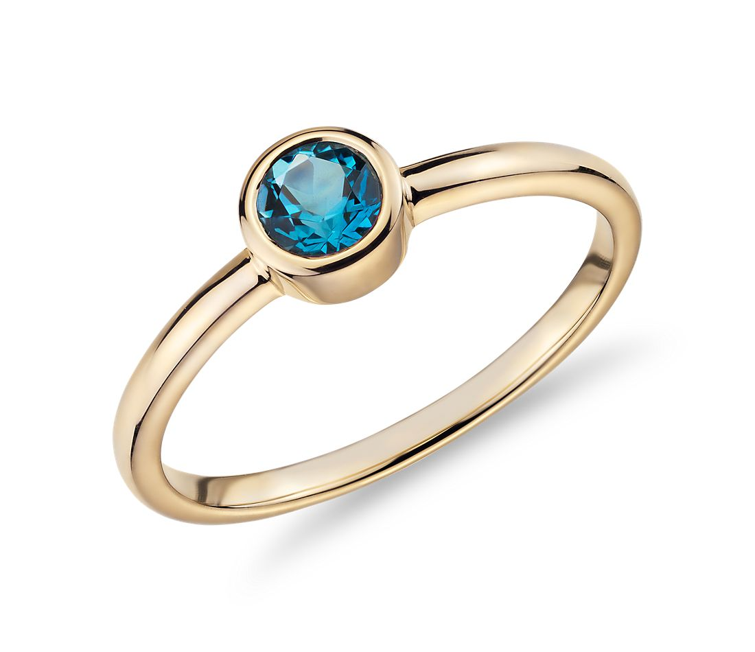 Petite Bezel-Set Swiss Blue Topaz Fashion Ring in 14k Yellow Gold (4mm)