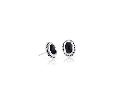 Petites puces d'oreilles onyx noir avec halo motif corde en argent sterling (5x3mm)