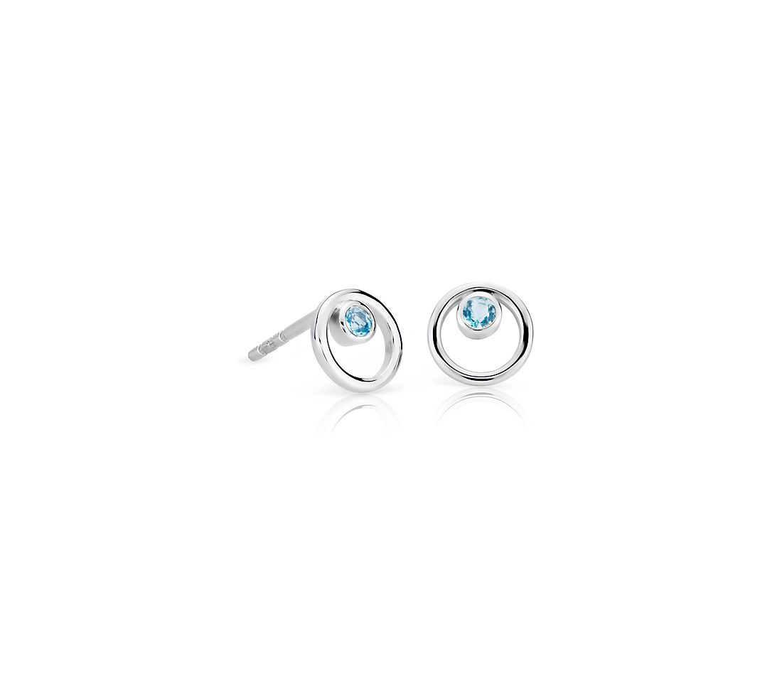 Petite Open Circle Blue Topaz Birthstone Earrings in 14k White Gold (2mm)