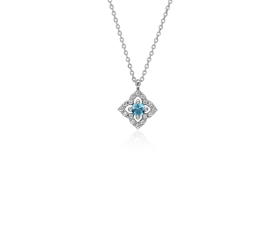 Petite Swiss Blue Topaz and Diamond Floral Pendant in 14k White Gold (2.8mm)